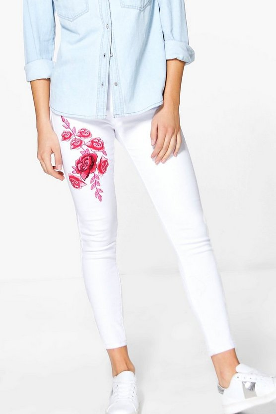 Wendy High Waist Embroidered Skinny Jeans