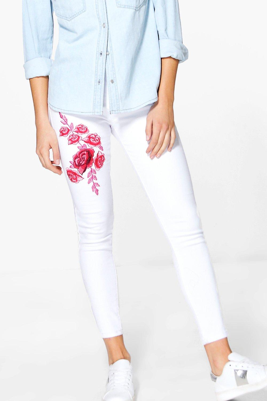 Boohoo womens wendy high waist embroidered skinny jeans