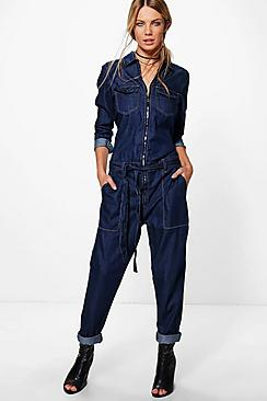 Joanna Zip Through Denim Boilersuit
