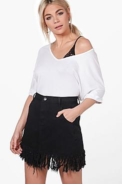 Jen Berry Button Through A Line Denim Skirt at boohoo.com