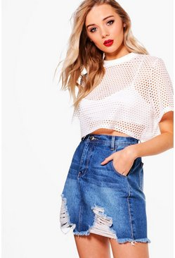 Lucy Denim Ladder Fray Hem Mini Skirt