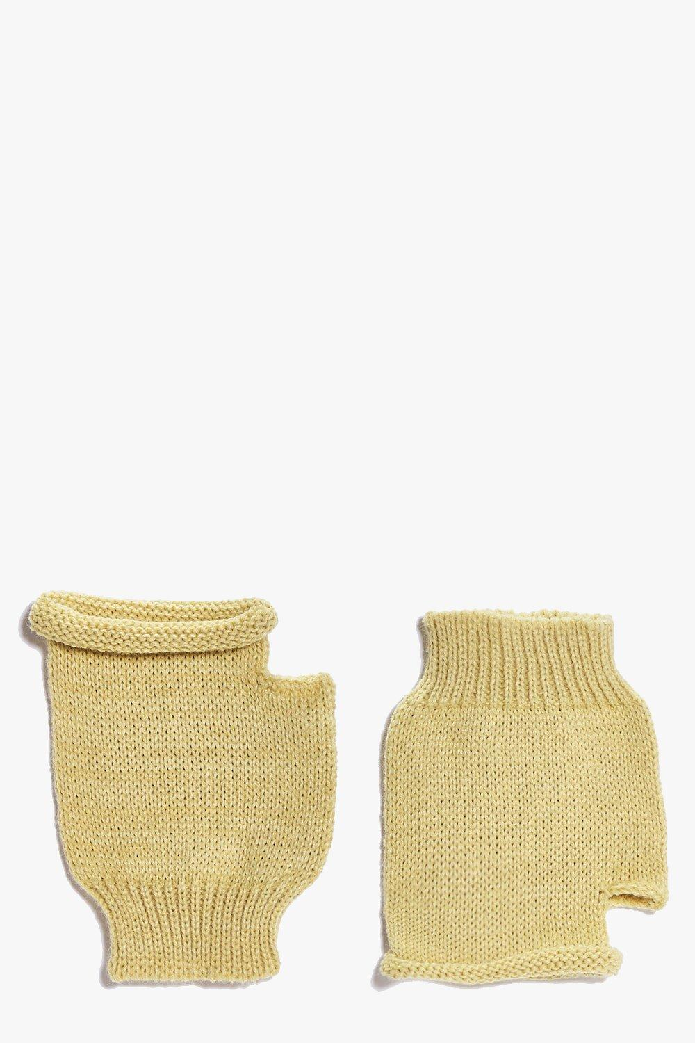 Fingerless Soft Knit Mittens  camel
