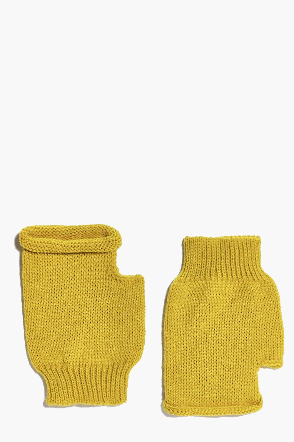 Fingerless Soft Knit Mittens  mustard