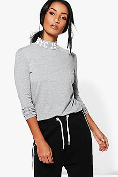 Georgie High Neck Printed Top