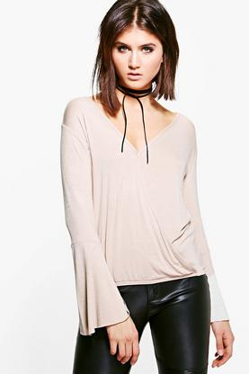 Sophia Wrap Front Fluted Sleeve Top