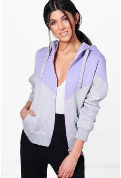Tia Contrast Panel Zip Through Hoody
