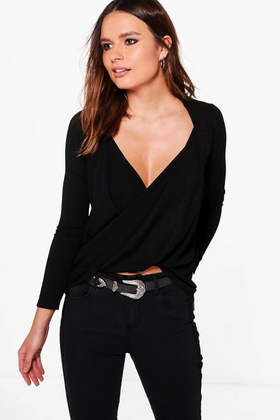 Eliza Wrapover Ribbed Long Sleeve Top