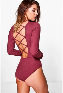 Sarah Ribbed Cross Back Long Sleeve Bodysuit