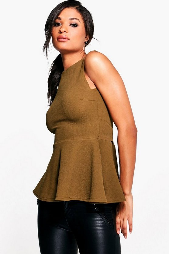 Jennifer Tie Waist Sleeveless Peplum Top