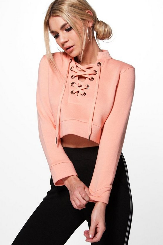 Rima Lace Up Crop Sweatshirt