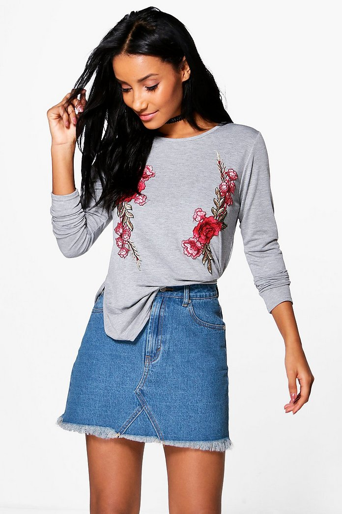 Alexia Long Sleeve Embroidered T-Shirt