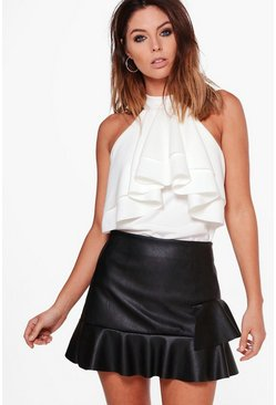 Hillary High Neck Double Frill Top