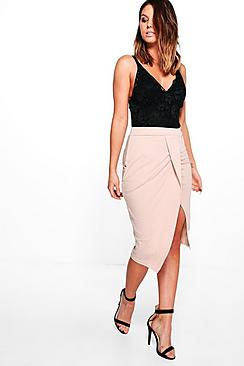 Lara Twisted Front Pleat Midi Skirt