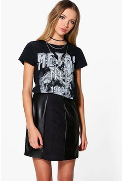 Avah Suedette & Leather Look Panelled Mini Skirt