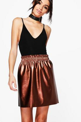 Sierra Paperbag Waist Metallic Leather Look Skirt