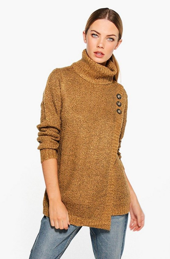 Tia Cowl Neck Button Detail Jumper