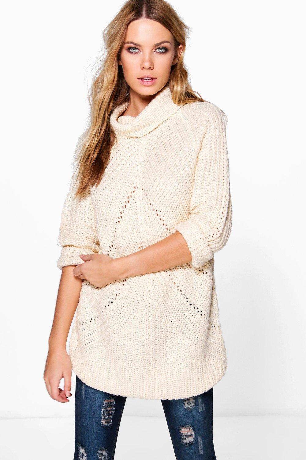 Pointelle Aran Jumper  white