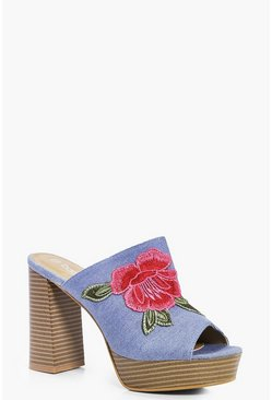 Jess Denim Floral Embroidered Mule