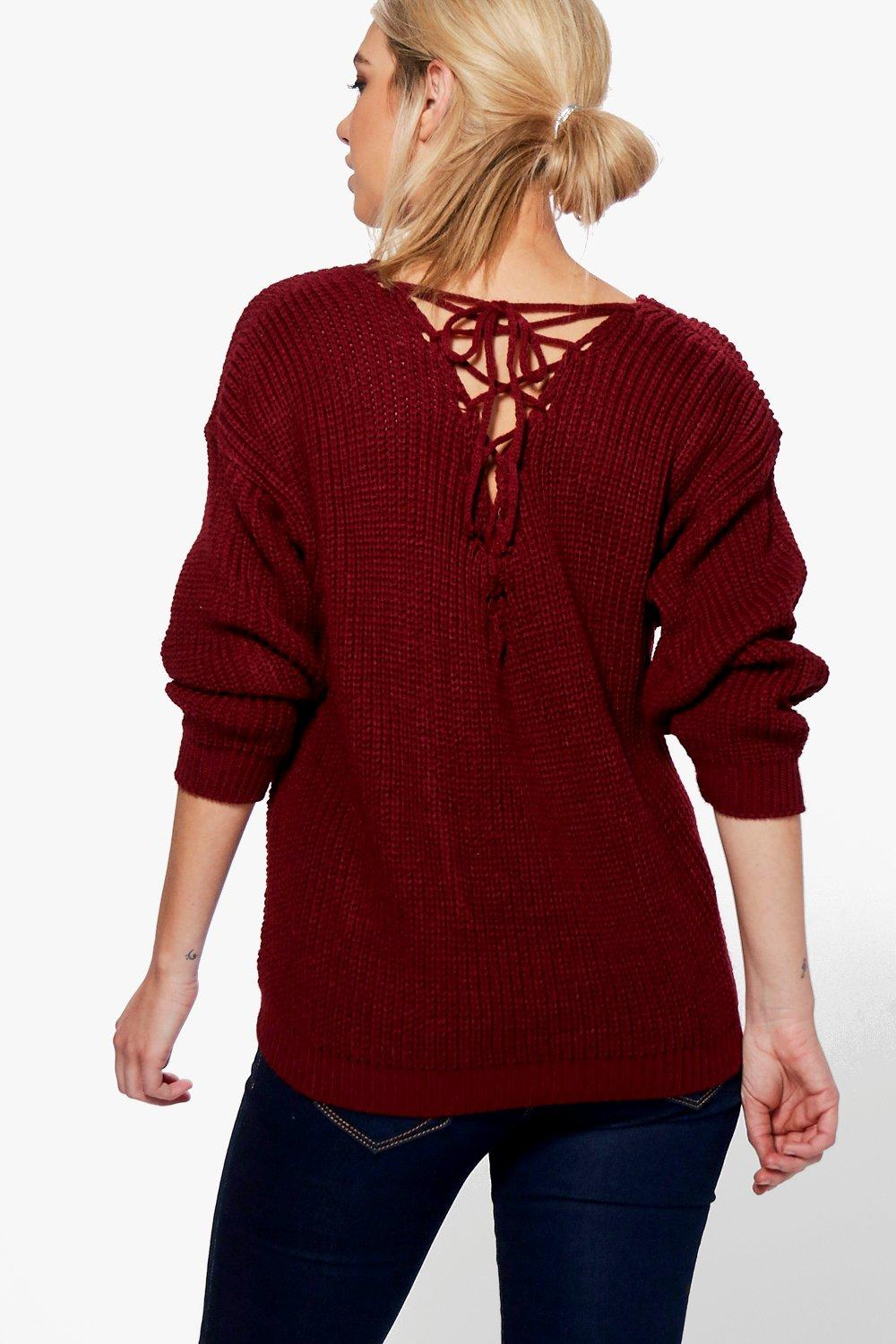 Bethany Lace Up Back Fisherman Knit Jumper