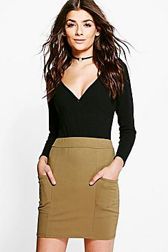 Suria Crepe Pocket Side Mini Skirt