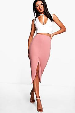 Harper Crepe Front Split Midi Skirt
