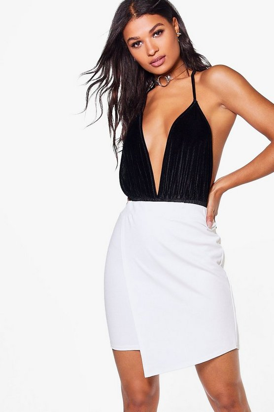 Adelaide Crepe Asymetric Mini Skirt