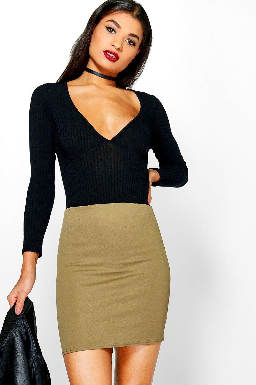 Crepe Mini Skirt  khaki