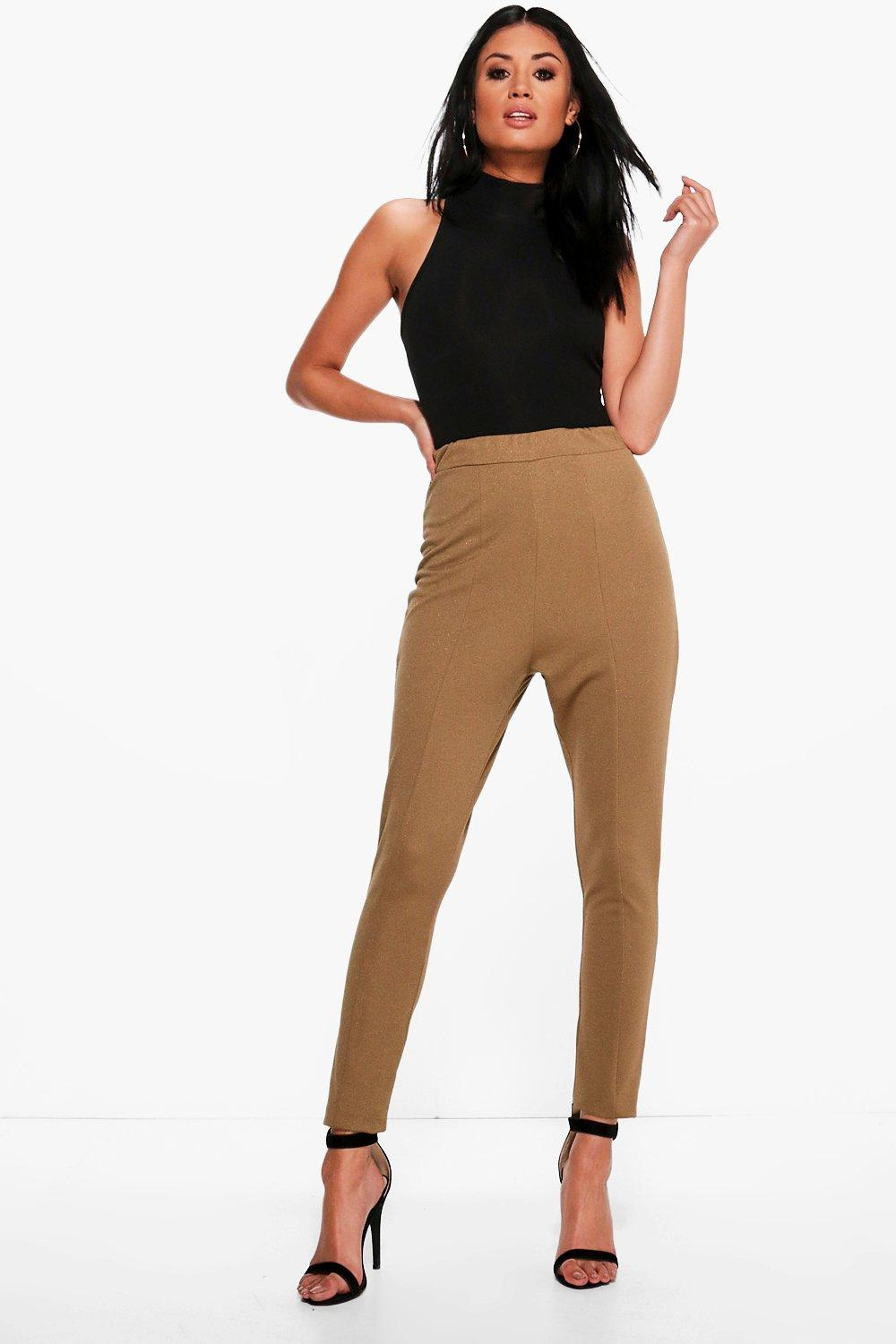 Valencia Seam Front High Waist Crepe Leggings khaki