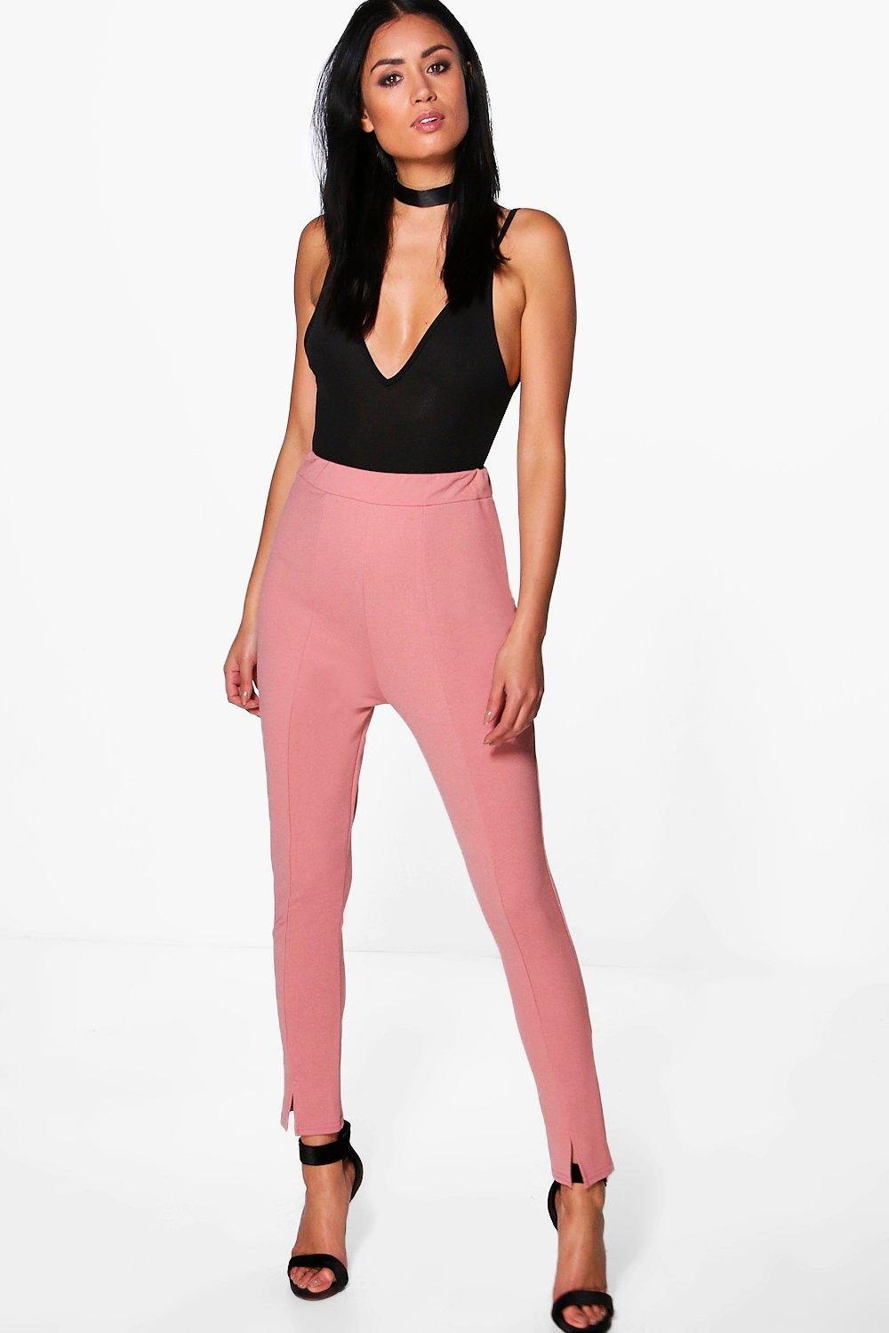 Sahara Seam Front Split High Waist Crepe Leggings rose