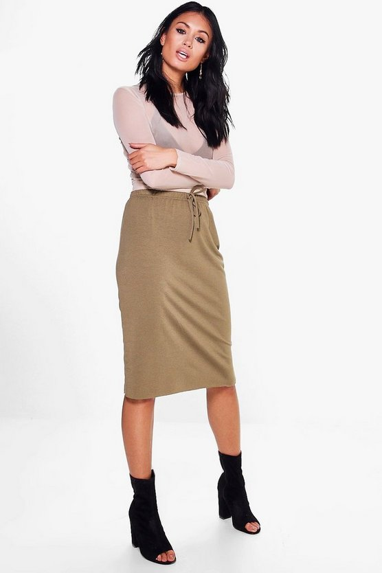 Marin Gathered Waist Loopback Midi Skirt