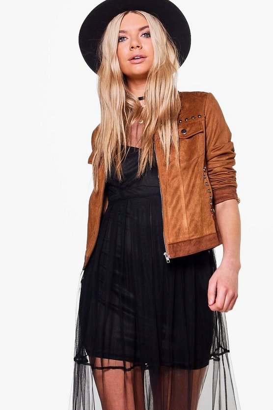 Rosie Boutique Suedette Patch & Stud Western Jacket