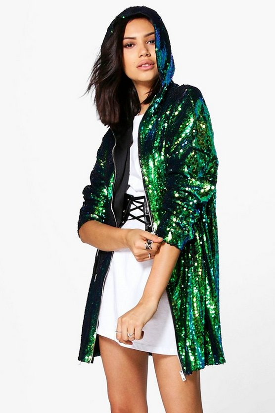 Georgia Boutique Sequin Hooded Parka