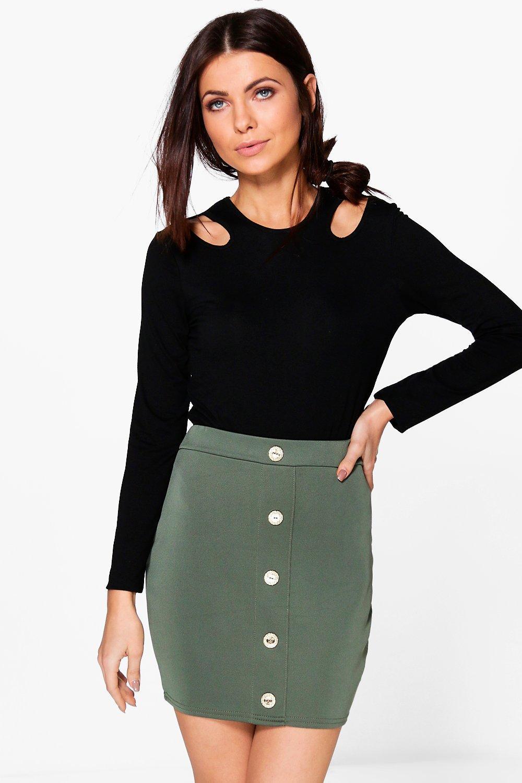Utility Button Detail Mini Skirt  khaki