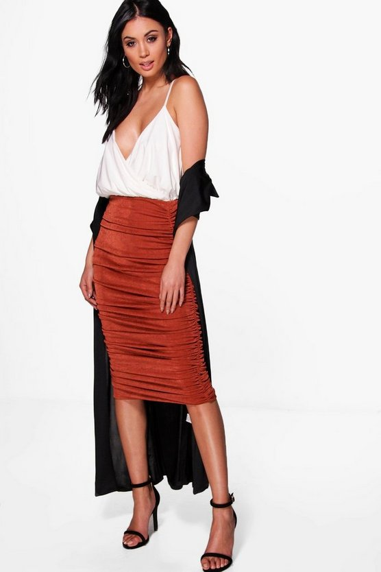 Loren Highwaist Textured Rouched Midi Skirt