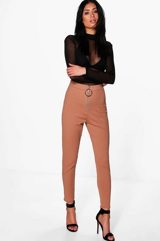 Zip Detail Ribbed Highwaist Leggings