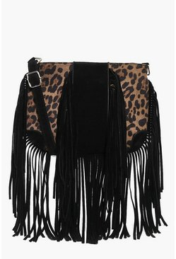 Abbie Faux Leopard Fringed Cross Body Bag