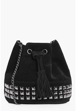 Lucy Studded Suedette Tassel Duffle Bag