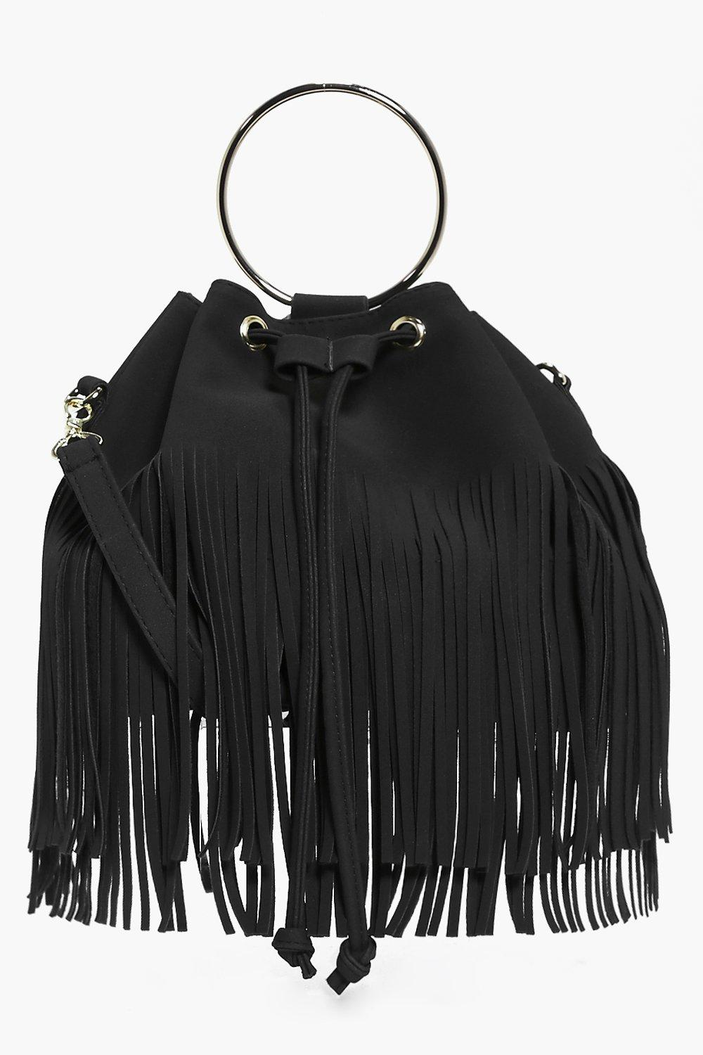 Fringed Duffle Bag With Circle Trim - black - Lena