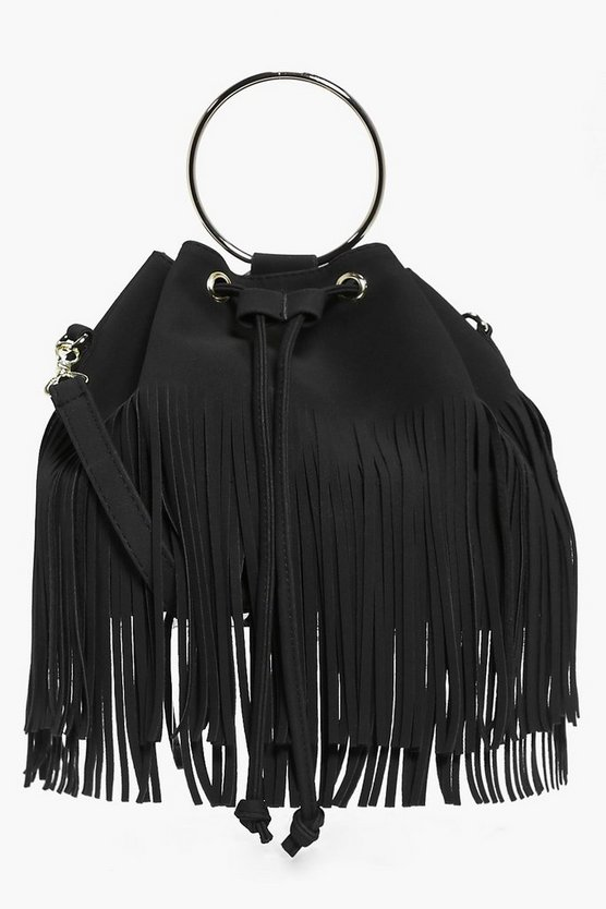 Lena Fringed Duffle Bag With Circle Trim