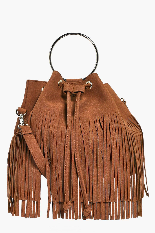 Fringed Duffle Bag With Circle Trim - tan - Lena F
