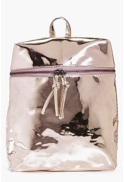 Charlotte Zip Shine Metallic Backpack