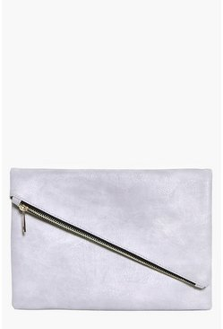 Madeleine Fold Over Diagonal Zip Clutch Bag