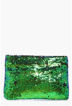 Aleena Mermaid Sequin Zip Top Clutch Bag