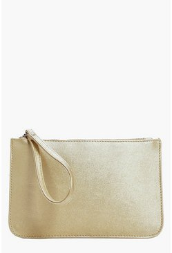 Macie Zip Top Handstrap Metallic Clutch Bag