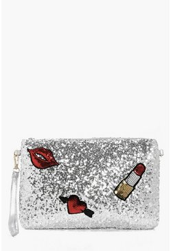 Scarlet Sequin Patch Detail Clutch Bag