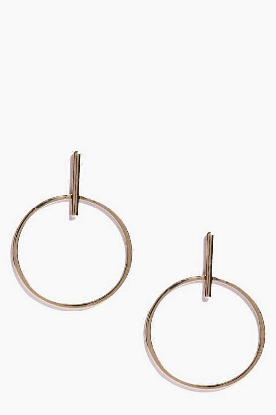 Annie Minimalist Drop Hoop Earrings