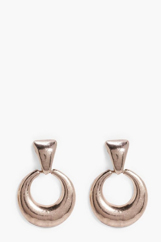 Anya Chunky Oval Drop Hoop Earrings
