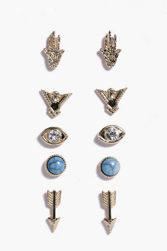 Natalia Arrow and Hamsa Stud 5 Earring Pack