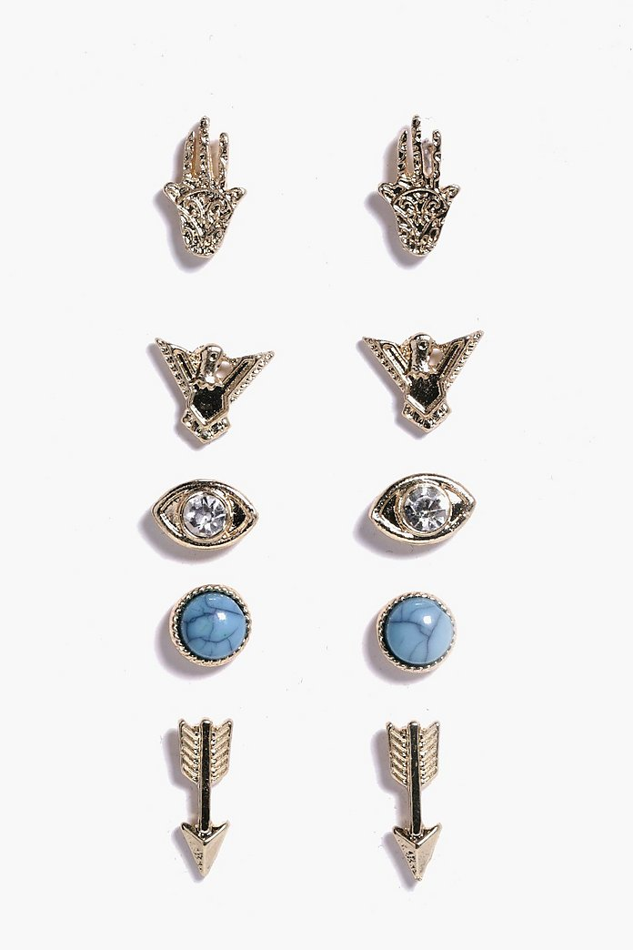 Natalia Mixed Design Stud 5 Earring Pack