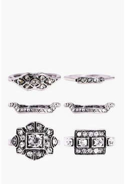 India Mixed Design Boho 6 Piece Ring Set